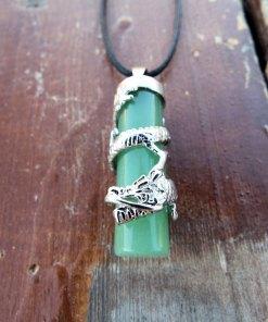 Aventurine Dragon Pendant Gemstone Pendulum Silver Necklace Cylinder Handmade Gothic Magic Dark Wicca Jewelry