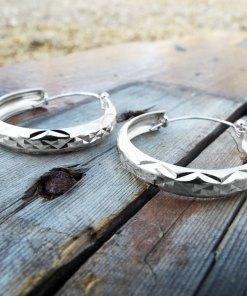 Bali Hoop Earrings Silver Balinese Sterling 925 Tribal Handmade Jewelry Patterned Traditional