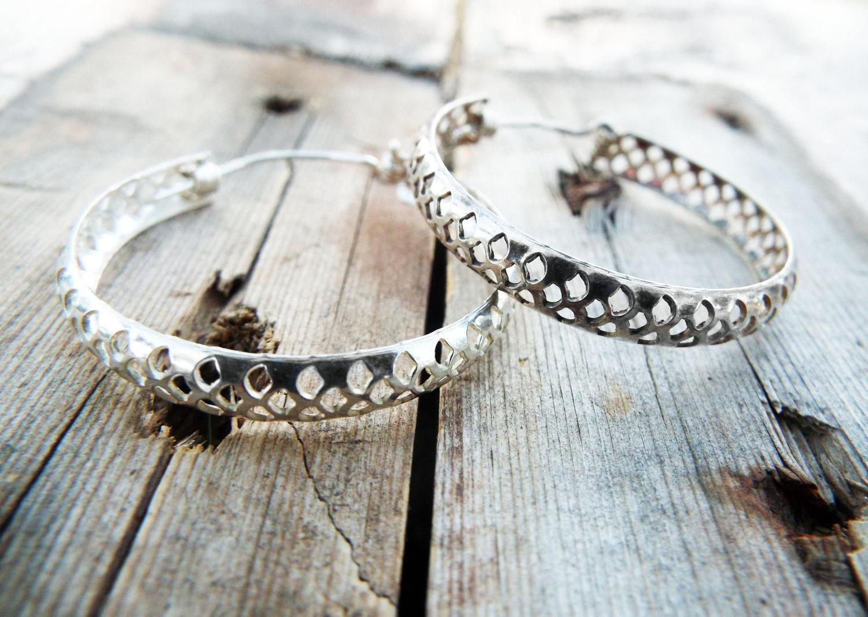 959c29f9c Bali Hoop Earrings Silver Balinese Sterling 925 Tribal Handmade Jewelry  Patterned Traditional
