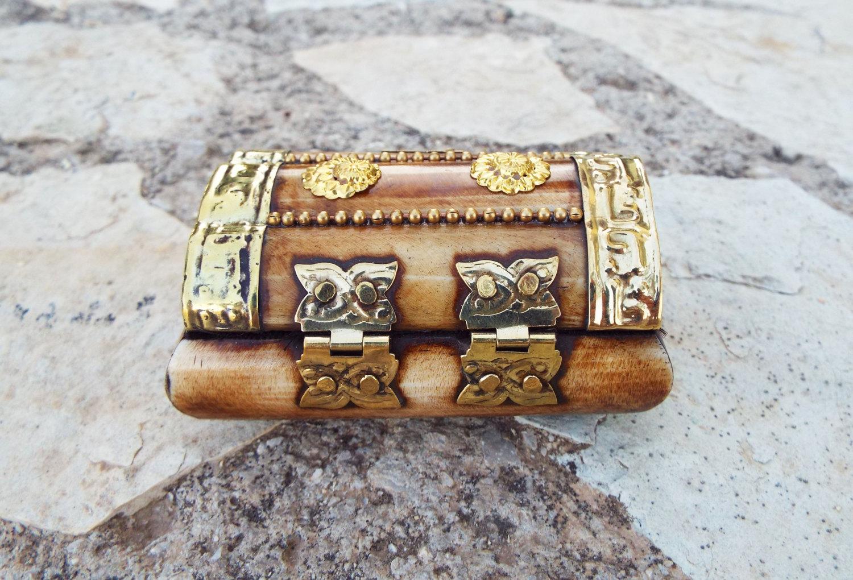 Bone Box Handmade Trinket Chest Carved Jewelry Box Antique Vintage