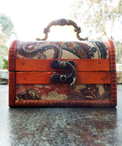 Box Vintage Floral Flower Handmade Wooden Genuine Leather Treasure Chest Jewelry Paisley Trinket Antique Vintage Gothic