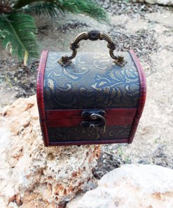 Box Wooden Floral Leaves Handmade Genuine Leather Vintage Treasure Chest Jewelry Trinket Antique Vintage Gothic