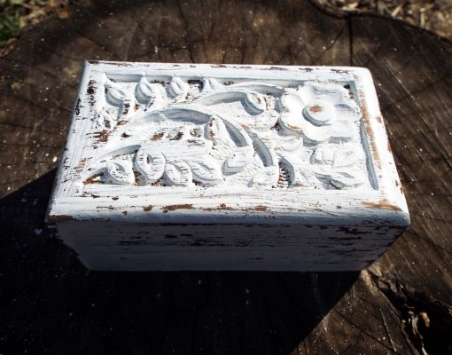 Box Wooden Flower Jewelry Carved Handmade Home Decor Indian Floral Antique Vintage Mango Tree Wood Trinket Leaf Treasure Chest Eco Friendly
