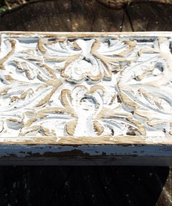 Box Wooden Flower Jewelry Carved Handmade Home Decor Indian Floral Mango Tree Wood Antique Vintage Trinket Leaf Treasure Chest Eco Friendly