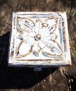Box Wooden Flower Jewelry Carved Handmade Home Decor Indian Floral Mango Tree Wood Antique Vintage Trinket Treasure Chest Eco Friendly