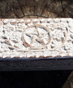 Box Wooden Jewelry Pentagram Hand Carved Handmade Floral Home Decor Trinket Antique Vintage Gothic Wiccan Magic Pagan Treasure Chest