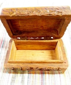 Box Wooden Jewelry Pentagram Hand Carved Handmade Floral Home Decor Trinket Gothic Wiccan Magic Pagan Treasure Chest