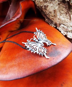 Butterfly Pendant Silver Handmade Necklace Sterling 925 Animal Symbol Protection Antique Vintage Jewelry