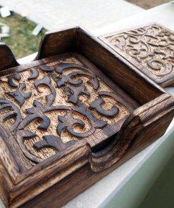 Coaster Wooden Handmade Carved Glass Mug Cup Coasters Floral Home Decor Homewares Mango Tree Woodwork Boho