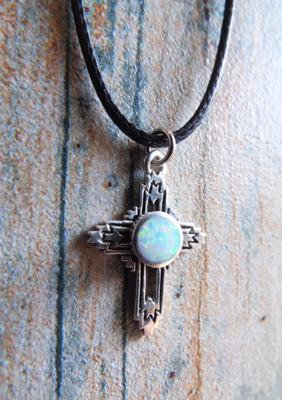 Sterling Silver Opal Cross Pendant