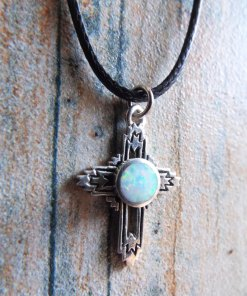 Cross Pendant Silver Opal Sterling 925 Handmade Gemstone Necklace Christian Religious Jewelry Crucifix Symbol 2