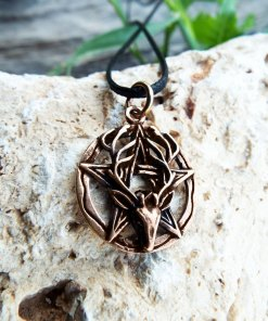 Deer Pentagram Pendant Antelope Bronze Handmade Necklace Dark Gothic Pagan Wiccan Protection Jewelry Symbol
