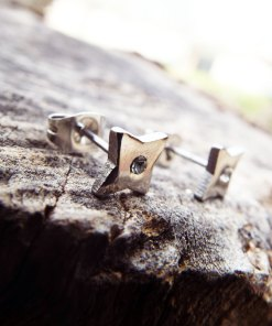 Diamond Earrings Studs Cross Silver Cubic Zirconia Handmade Gothic Dark Stainless Steel Jewelry