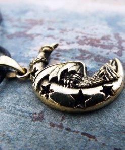 Dragon Moon Pendant Silver Handmade Necklace Sterling 925 Star Night Gothic Dark Jewelry