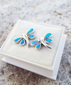 Dragonfly Earrings Opal Studs Silver Gemstone Handmade Sterling 925 Swirl Spiral Antique Vintage Jewelry
