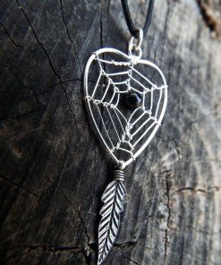 Dreamcatcher Pendant Heart Sterling Silver Handmade Necklace 925 Black Onyx Gemstone Indian Native American Love