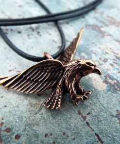 Eagle Pendant Handmade Necklace Bird Hawk Bronze Animal Symbol Flying Freedom Jewelry