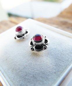 Earrings Garnet Studs Red Gemstone Silver Celtic Gothic Dark Handmade Sterling 925 Jewelry