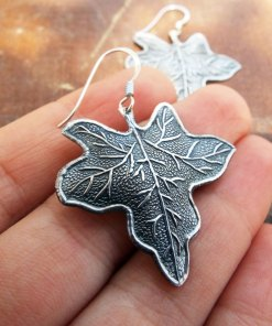 Earrings Leaf Silver Handmade Dangle Drop Earrings Sterling 925 Nature Jewelry