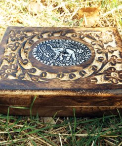 Elephant Box Indian Balinese Hindu Ganesha Mango Tree Wood Floral Handmade Carved Flower Animal Symbol Trinket Jewelry Chest