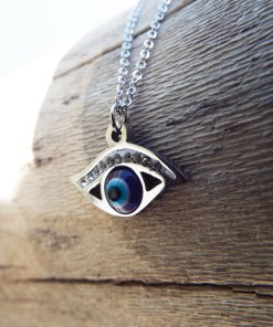 Eye Pendant Silver Handmade Necklace Evil Eye Protection Superstition Greek Symbol Jewelry Ματακι Μεταγιον Ατσαλι
