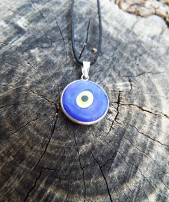 Eye Pendant Silver Handmade Necklace Evil Eye Sterling 925 Protection Superstition Greek Symbol Jewelry