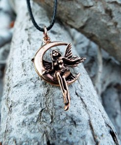 Fairy Pendant Handmade Moon Necklace Faerie Magic Pixie Bronze Gothic Dark Jewelry