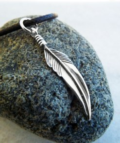 Feather Pendant Silver Handmade Necklace Sterling 925 Native American Indian Jewelry