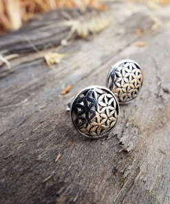 Flower of Life Seed of Life Earrings Silver Studs Sterling 925 Symbol Handmade Jewelry Protection Floral Flower