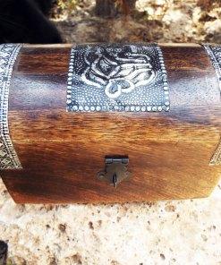 Ganesha Box Indian Balinese Hindu Elephant Mango Tree Wood Handmade Carved Flower Animal Symbol Trinket Jewelry Chest