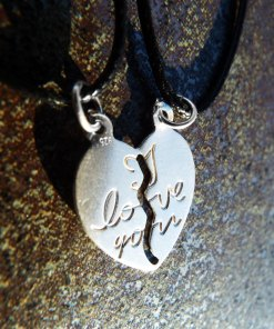 Heart Pendant Couple's Necklace Handmade Silver Sterling 925 Love Jewelry Valentine