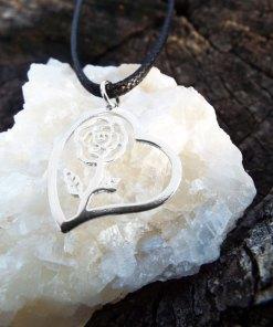 Heart Pendant Rose Flower Silver Handmade Sterling 925 Love Necklace Jewelry Valentine