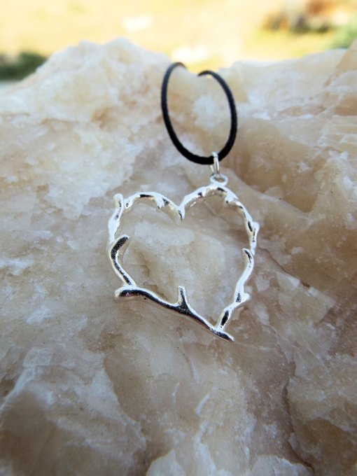 Heart Pendant Silver Sterling 925 Handmade Branch Earthy Necklace Jewelry Love