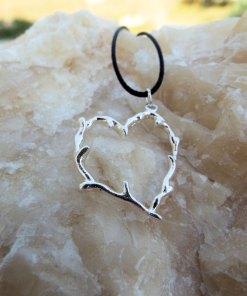 Heart Pendant Silver Sterling 925 Handmade Branch Earthy Necklace Jewelry Love