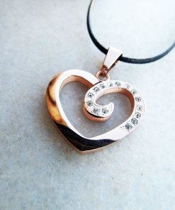 Heart Pendant Zircon Gemstone Rose Gold Handmade Necklace Love Stone Jewelry Valentine