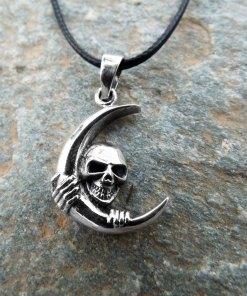Moon Skull Pendant Silver Handmade Necklace Sterling 925 Gothic Dark Crossbones Skeleton Death Jewelry