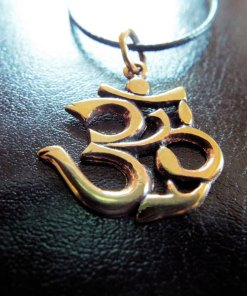 Om Pendant Bronze Handmade Necklace Symbol Indian Yoga Jewelry Meditation