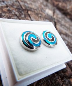 Opal Earrings Studs Silver Gemstone Handmade Sterling 925 Swirl Spiral Antique Vintage Jewelry