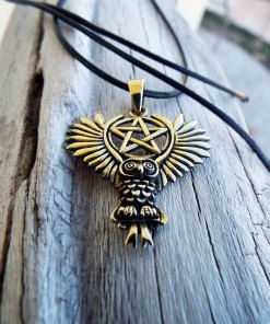 Owl Pendant Bronze Moon Pentagram Handmade Necklace Wisdom Celtic Wiccan Magic Jewelry