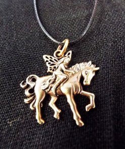 Pendant Fairy Unicorn Necklace Handmade Jewelry Bronze Beautiful Mystic Fantasy Faerie Magic