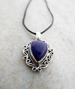 Pendant Gothic Sterling Silver 925 Blue Sandstone Gemstone Necklace Handmade Vintage Antique Filigree Dark