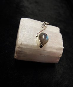 Pendant Gothic Sterling Silver 925 Gemstone Teardrop Necklace Labradorite Handmade Vintage Antique Dark