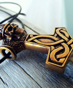 Pendant Thor's Hammer Celtic Bronze Skull Symbol Knot Magic Handmade Gothic Dark Jewelry Necklace Μεταγιον