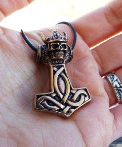 Pendant Thor's Hammer Celtic Bronze Skull Symbol Knot Magic Handmade Gothic Dark Jewelry Necklace Μεταγιον