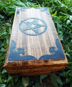 Pentagram Box Star Wiccan Magic Witch Handmade Ritual Mango Tree Wood Eco Friendly Gothic Dark Jewelry Box Chest Trinket