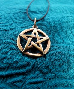 Pentagram Star Wicca Pendant Pagan Magic Witch Handmade Necklace Gothic Dark Wiccan Bronze Jewelry