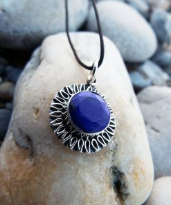 Sapphire Pendant Blue Silver Handmade Necklace Sterling 925 Jewelry Gothic Dark Boho