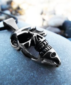 Skull Pendant Silver Handmade Necklace Gothic Dark Crossbones Skeleton Death Jewelry