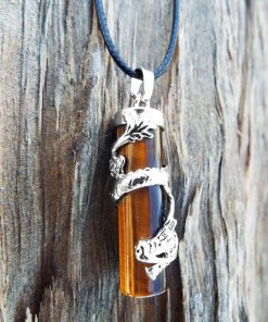 Tiger's Eye Dragon Pendant Gemstone Pendulum Silver Necklace Cylinder Handmade Gothic Magic Dark Wicca Jewelry