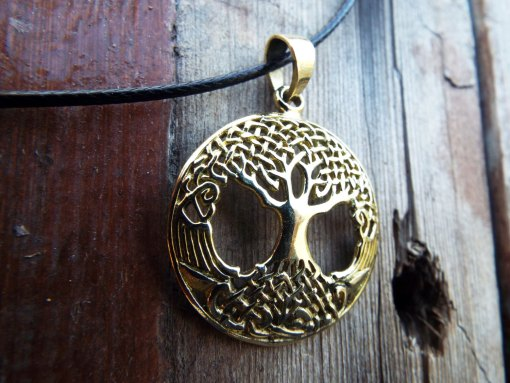 Tree of Life Celtic Pendant Protection Handmade Necklace Gothic Dark Jewelry Symbol Bronze